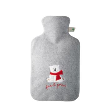 HUGOFROSCH德国进口热水袋可爱卡通绒布安全防爆注水热水袋充水暖水袋1.8L