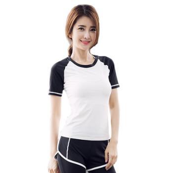 派衣阁休闲健身跑步瑜伽上衣速干修身运动短袖瑜伽T恤S63