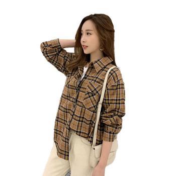 沫沫依莉格子衬衫女装韩版百搭翻领长袖学生衬衣MGC8913