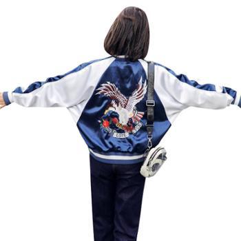 沫沫依莉2019春秋棒球服女宽松bf原宿风刺绣长袖短款常规蝙蝠型短外套MHYM8075