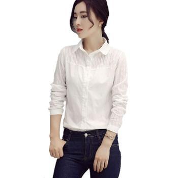 沫沫依莉长袖修身显瘦甜美圆领单排多扣纯色衬衫KFG6021D