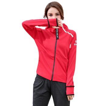 沫沫依莉新款韩版瑜伽服女秋冬健身服连帽外套透气速干跑步运动瑜伽衣女A-LC019