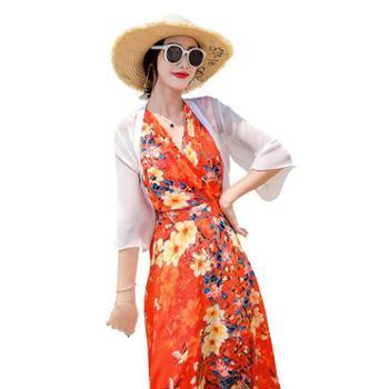 沫沫依莉2019年夏季舒适时尚简约百搭纯色印花淑女雪纺两件套连衣裙HHYS3019