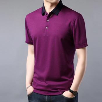 沫沫依莉夏季款桑蚕丝POLO衫男士百搭纯色透气舒适简约短袖T恤2020-1-D39177
