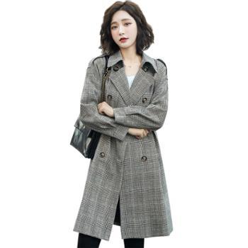 沫沫依莉风衣女装中长款韩版时尚经典格子长袖气质外套YKX1953
