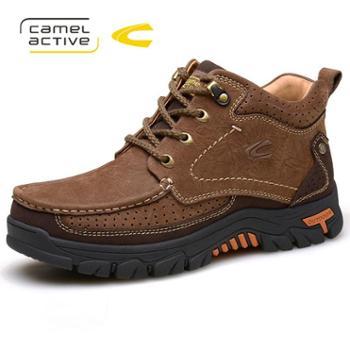 骆驼动感户外靴男 冬加绒牛皮男靴子高帮棉鞋 保暖防滑短靴A6661
