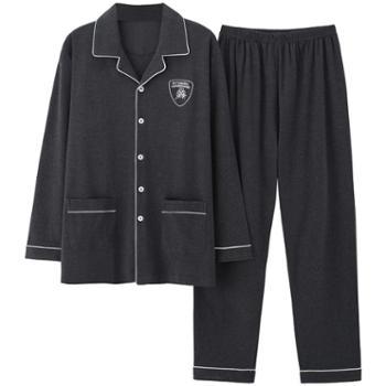 菲蜜莉睡衣男士纯棉春秋季开衫长袖宽松加大码青年家居服套装