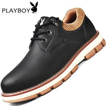 花花公子男鞋冬季工装鞋男士英伦百搭大头休闲皮鞋男户外马丁鞋子