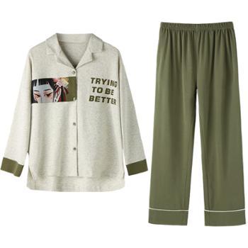 青年里卡通通宽松女式睡衣七件套全棉