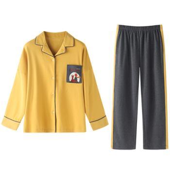 青年里韩版睡衣七件套全棉