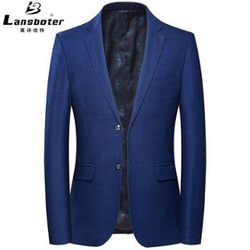 莱诗伯特男士西装格纹羊毛男士西服外套休闲西装韩版西服男修身男式西服男士西装