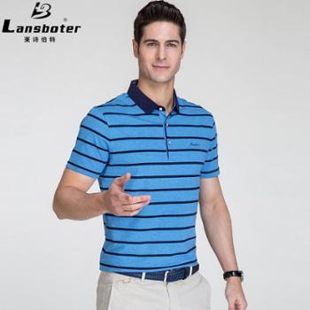莱诗伯特男士短袖t恤纯棉色织条纹翻领中青年丝光体恤衫