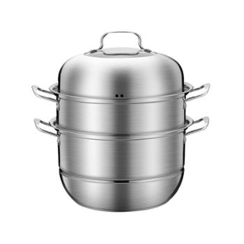 加厚不锈钢双耳燃气电磁炉专用蒸煮锅