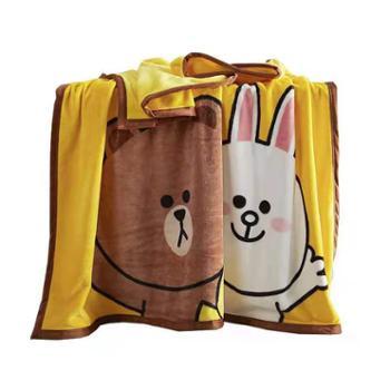 多喜爱法兰绒毛毯LINE系列旅行家布朗熊150*200cm