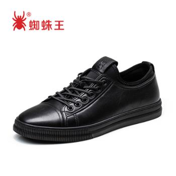 蜘蛛王男鞋黑色透气百搭真皮韩版板鞋潮