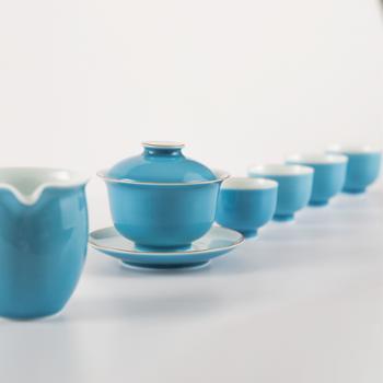 私享·金和汇景高温颜色釉天蓝六头茶具