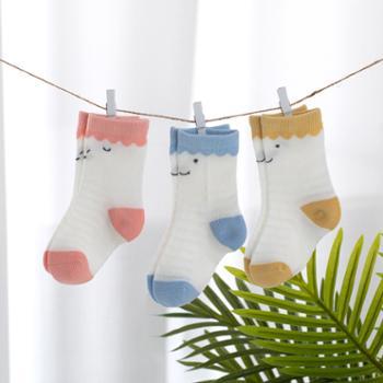 威尔贝鲁新生婴儿袜子春秋男女童打底袜宝宝袜子儿童薄款3条装