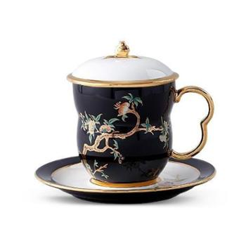 夫人瓷石榴家园3件套盖杯(黑)