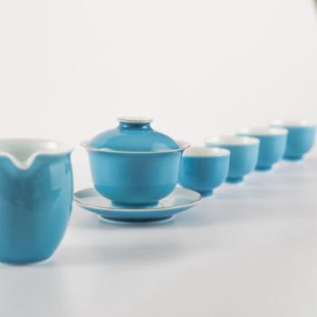 金和汇景-高温颜色釉天蓝六头茶具