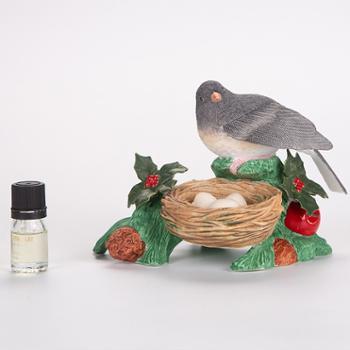 金和汇景-创意仿真黑眼灯芯草雀陶瓷香薰带鸟巢摆件
