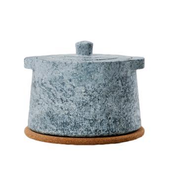 西藏墨脱纯手工天然皂石直口小奶锅