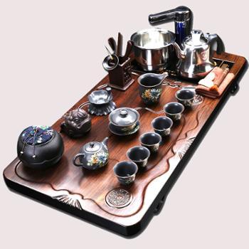 全自动黑檀茶盘整套功夫茶具诚和源