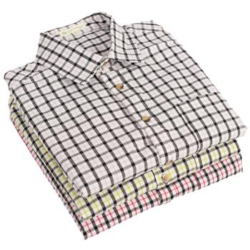 smonty男士格子长袖衬衫纯棉