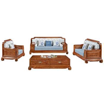 久鼎鸿福蜀台红香椿组合沙发:单人、双人、三人、茶几