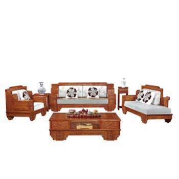 久鼎鸿福红椿木沙发单人、贵妃、三人、茶几、角几