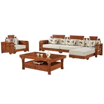 久鼎鸿福蜀台红椿木沙发单人、贵妃、双人、茶几、角几