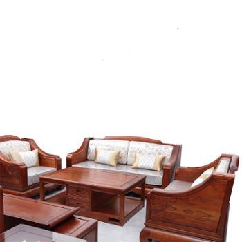 久鼎鸿福蜀台红香椿组合沙发单人、双人、三人、茶几
