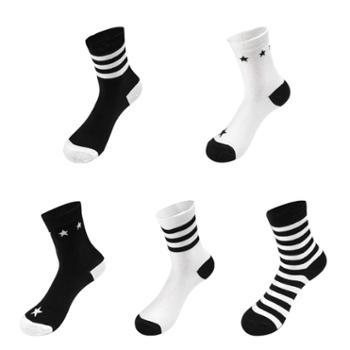 Asrla 时尚条纹男女情侣棉袜 均码 混色袜子5双装 AWZ62H